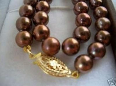 "HOT Huge AAA 10-11mm south sea chocolate pearl necklace 18"" 14K GOLD CLASP"