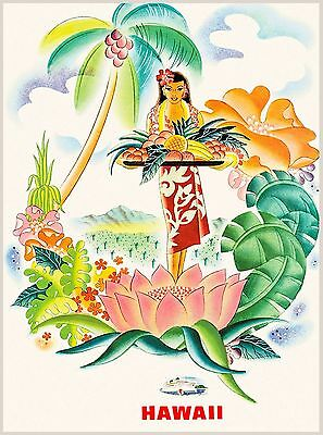 Matson Hawaii Hawaiian Beach Girl Hula United States Travel Advertisement Poster