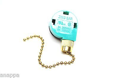 Zing Ear ZE-268S6 (Replaces ZE-208S6) Pull Chain Switch 3 Speed - New