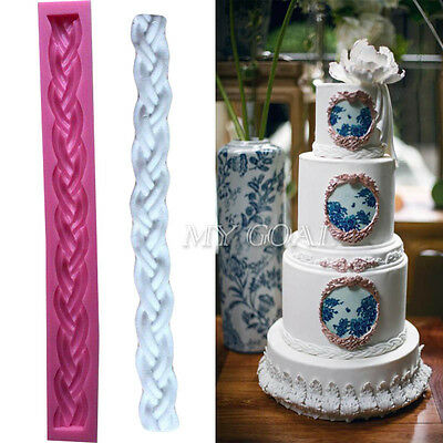 3D Long Bag Rope String Fondant Mould Knit Silicone Cake Decor Sugarcraft Mold