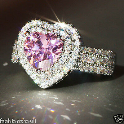 925 Silver Gold Filled Pink Sapphire Birthstone Engagement Wedding Ring 357