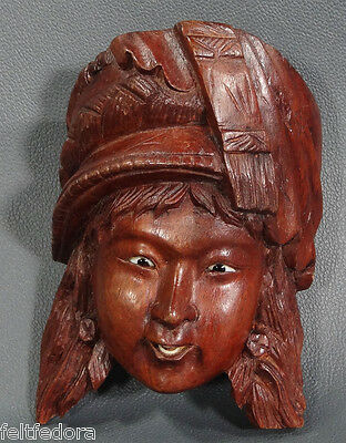 Antique China Chinese Goddess Woman Face Carved Wood Wall Mask Glass Eyes Nice