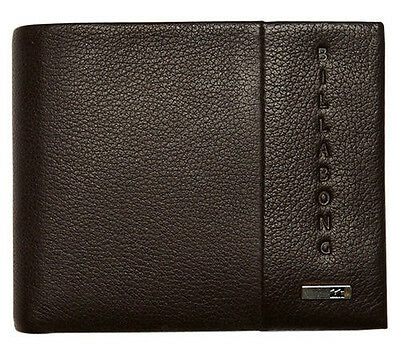 "Brand New In Gift Box Billabong ""empire"" Mens Brown Leather Tri-Fold Wallet Bnwt"