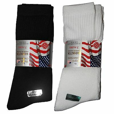 5 Pair Cotton Rich Mens Plain Classic Sports Socks Thick Black /white Uk 6-11