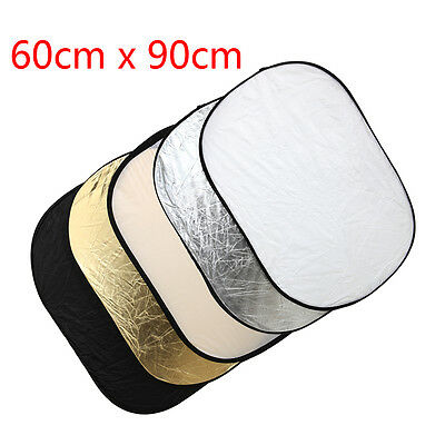 5 in 1 Photography Collapsible Light Reflector Diffuser 60x90cm Set New