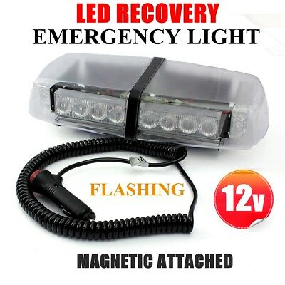 12V Recovery Strobe Amber 24 Led Flashing Light Emergency Bar Magnetic Beacon