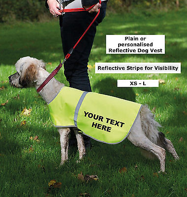 Reflective Plain or Personalised Yellow Visibility  Hi Viz / Hi Vis Dog Vest