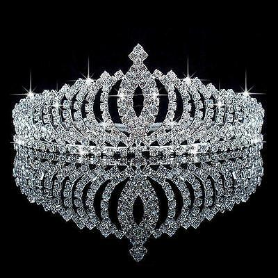 Wedding Bridal Princess Austrian Crystal Hair Accessory Tiara Crown Veil US
