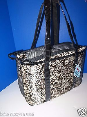 Simply Wag Leopard Print Travel Pet Carrier Tote Dogs Up To 7 lbs