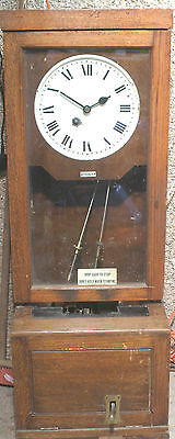 "Clocking in Clock 59905 Time Recording Fusee Movement GWO 42""H 16""W 11.5""D"