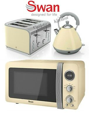 Swan Kettle and Toaster Set + Microwave Cream Retro Toaster Kettle Microwave New