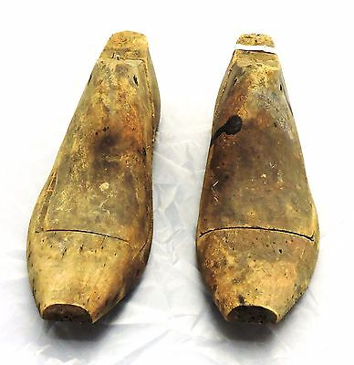 Pair of Antique Cobblers Wooden Shoe Molds with Flat Toe