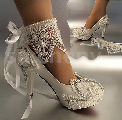 "su.cheny 3""4 "" heel white ivory lace ribbon pearls Wedding shoes bride size 5-11"