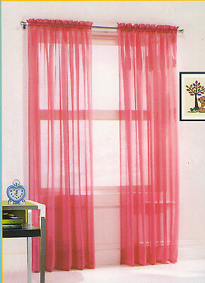 New Tracy Voile Sheer Window D 40 X 84 Pink 2 Panels