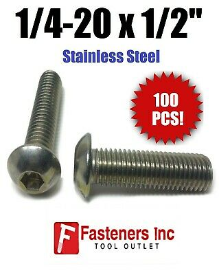 "(Qty 100) 1/4-20 x 1/2"" Button Head Socket Cap Screw Stainless Steel Screws UNC"