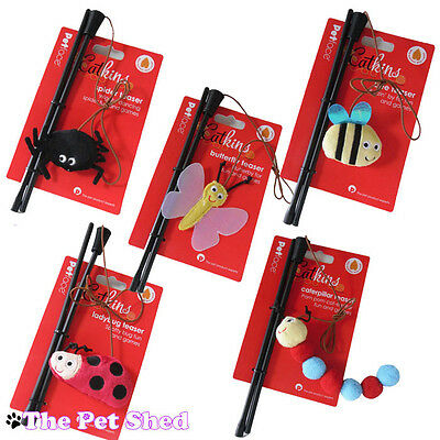 Cat Kitten Pet Play Fetch Chase Pounce Catnip Bug Teaser Dangler Wand Toy