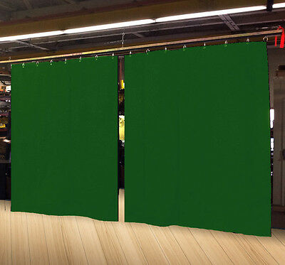 Lot of (2) Economy Hunter Green Curtain Panel/Partition 8 H x 4½ W, Non-FR