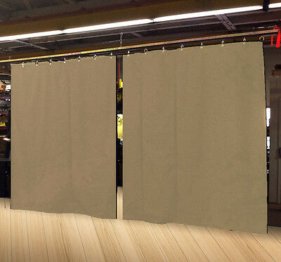 Lot of (2) Economy Tan Curtain Panel/Partition 10 H x 4½ W, Non-FR