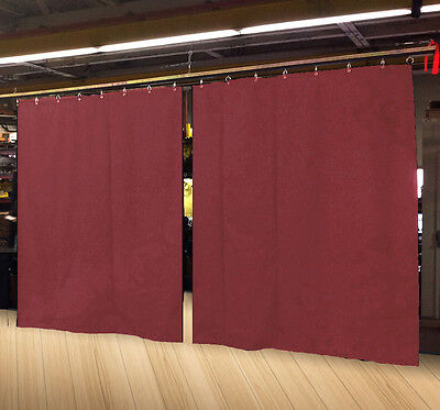 Lot of (2) Economy Burgundy Curtain Panel/Partition 10 H x 4½ W, Non-FR