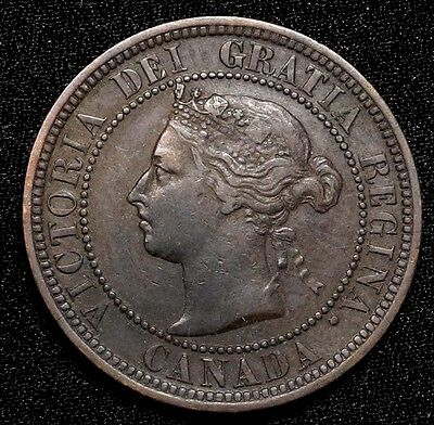 1891 Canada Large Cent 1C Queen Victoria Key Date Better Grade