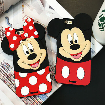 Cute 3D Cartoon Mouse Polka Dot Soft Silicone Rubber Case for iPhone 6S 7 8 Plus