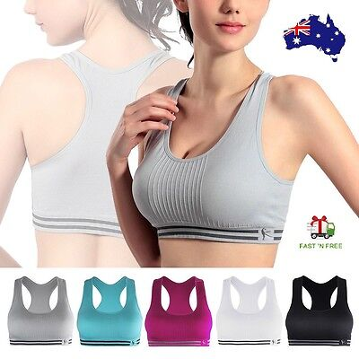 Women's Sports Yoga Bra Seamless Stretch Padded Racerback Crop Top Running Gym
