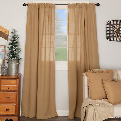 "Burlap Natural Tan 100% Cotton Rustic Country Window Curtains & Tie Backs 84"" L"