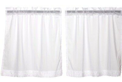 """Sheer White Ruffled Romantic Cottage Chic Cafe Curtains Window Tier Set 36"""" L"""