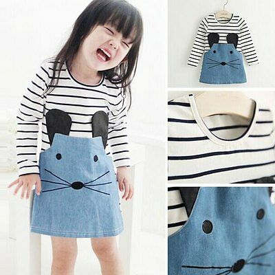 Stylish Toddler Baby Kids Girls Clothes Long Sleeve Mouse Tops T-Shirt Dress