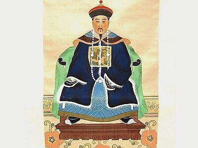 New Chinese Original King Emperor Watercolor Scroll Painting on Silk
