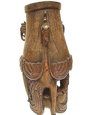 Chinese one-of-a-kind Phoenix Bird Wood Wooden Bamboo Carving Figurine Statue