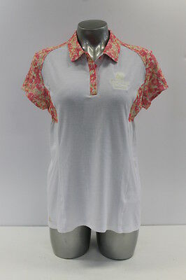 New With Tags Adidas Climalite Advance Womens Golf Polo In White/pink Floral