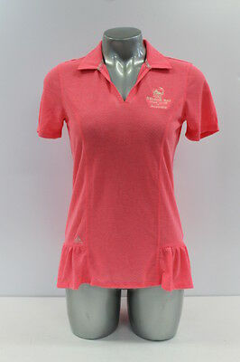 New With Tags Adidas Floral Peplum Womens Golf Polo Shirt In Fluro Pink