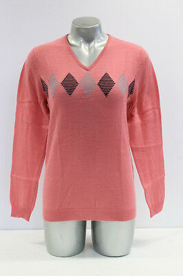 New With Tags Womens Sporte Leisure 100% Merino Wool Golf Jumper In Pink