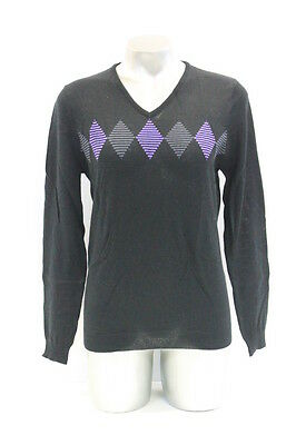 New With Tags Womens Sporte Leisure 100% Merino Wool Golf Jumper In Black