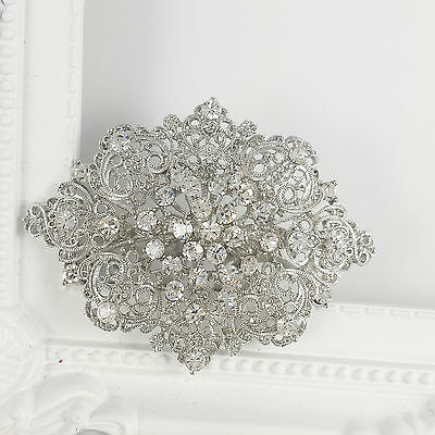 Hair Comb Vintage Wedding Bridal Silver Crystal Party Head Piece Accessories