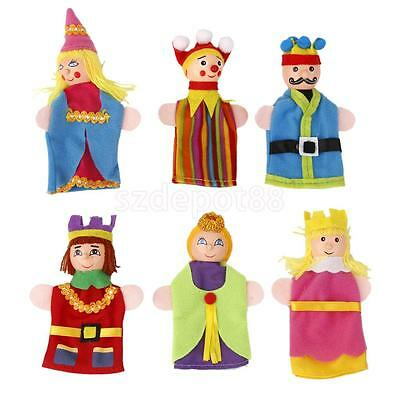 6Pcs Wooden Head Fairytale Finger Puppets King Queen Prince Princess Jester