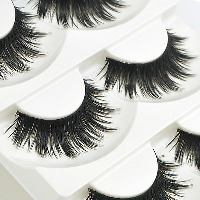 5 Pairs Soft Handmade Nautral Makeup Thick False Eyelashes Eye Lashes Long Black