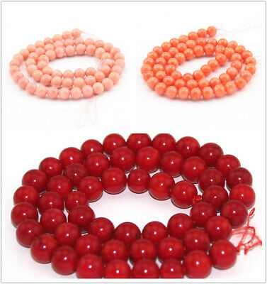 """Natural  Red&Pink Coral Round Gemstone Loose Jewelry Beads Strand 15"""" 2mm-12mm"""