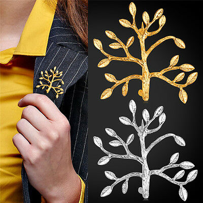 High Quality DIY Gold Plated Tree Branch Brooch Pin Men Women Collar Brooch Pins