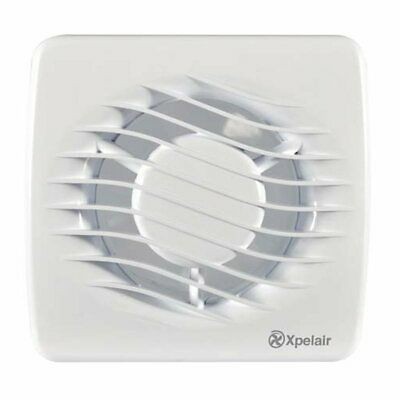 "Xpelair DX100T 4"" 100mm Square Bathroom Extrator Fan With Over-Run Timer"