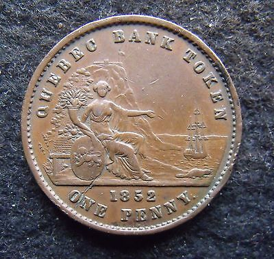 1852 QUEBEC CANADA VICTORIA PENNY TOKEN Good Very Fine