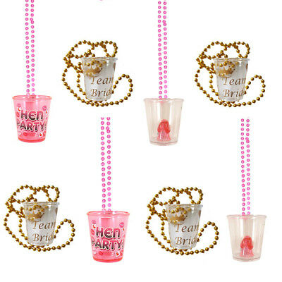 Bulk Buy Lot Hen Party Willy Bride Shot Glass Glasses Necklace Girls Night Out