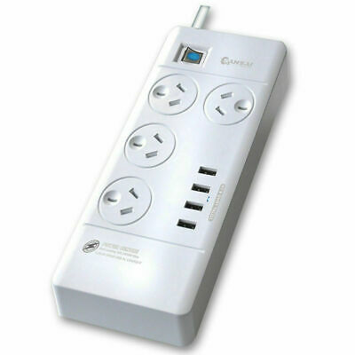 Power Board 4 Way Outlets Socket 4 Usb Charging Charger Ports / Surge Protector