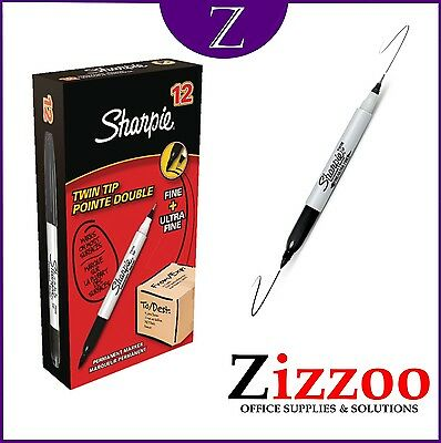 Sharpie Dual Twin Tip Black Permanent Marker Pen Fine & Ultra Fine Pack Of 12