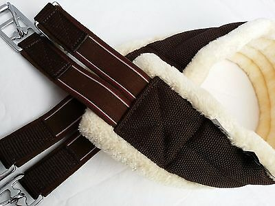 New Quality Sheepskin Synthetic Fur Nylon Girth Brown/Cream, Elasticated D-ring