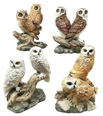 Colorful Owl Bird on Branch Small Figurines Set of Four Pcs Forest Snowy Barn