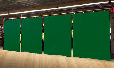 Lot of (4) Economy Hunter Green Curtain Panel/Partition 8 H x 4½ W, Non-FR