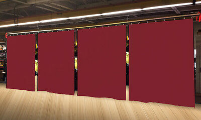 Lot of (4) Economy Burgundy Curtain Panel/Partition 8 H x 4½ W, Non-FR