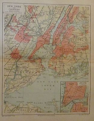 1896 NEW YORK UND UMGEBUNG USA alter Stadtplan antique city map Lithographie
